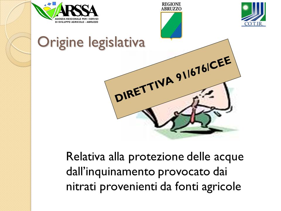 Origine legislativa DIRETTIVA 91/676/CEE.
