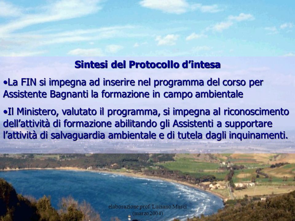 Sintesi del Protocollo d'intesa