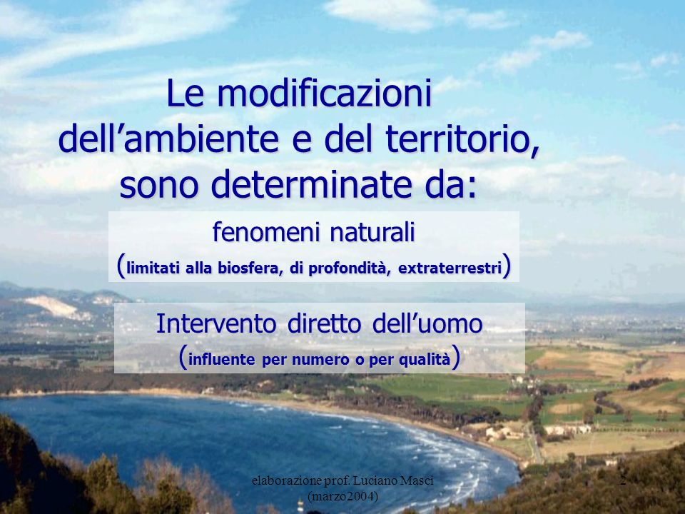 dell'ambiente e del territorio, sono determinate da: