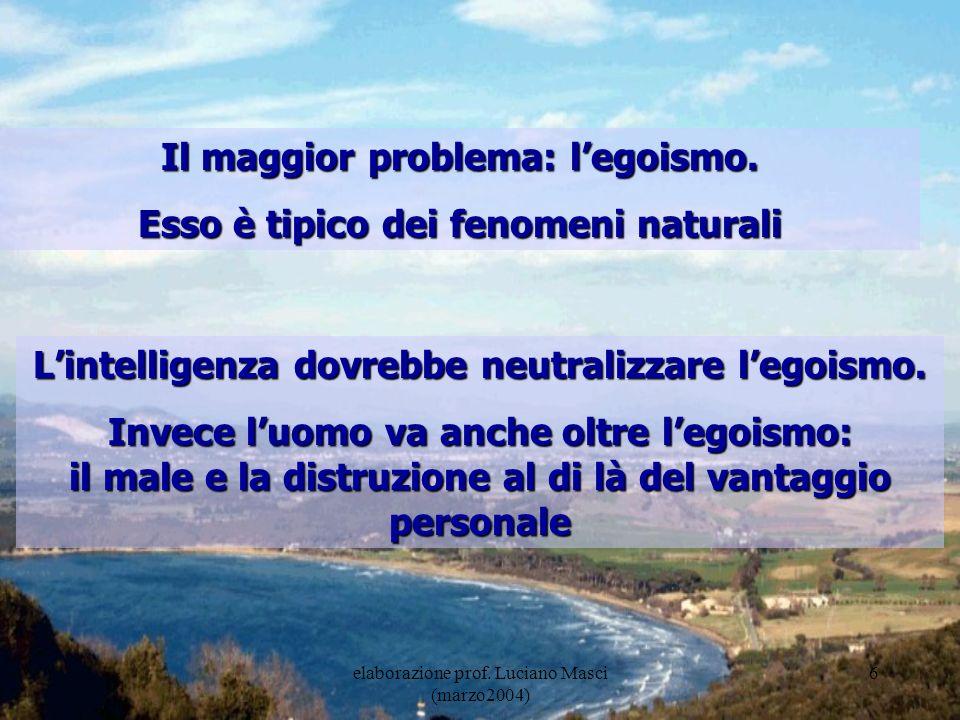 Il maggior problema: l'egoismo. Esso è tipico dei fenomeni naturali