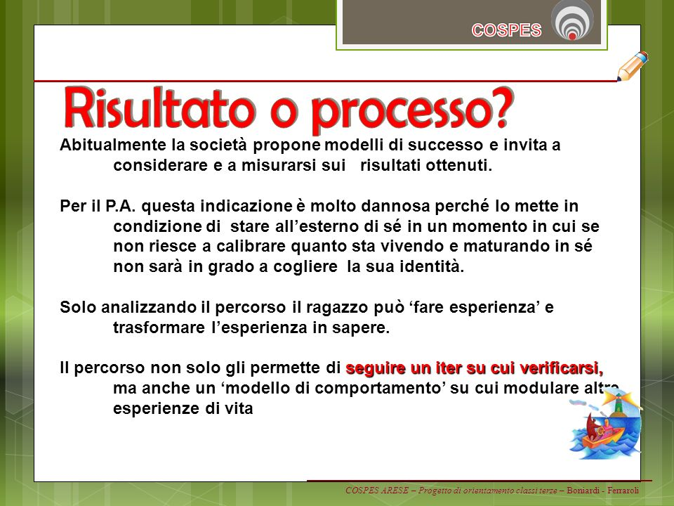 Risultato o processo COSPES