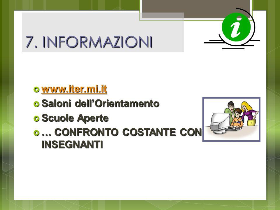 7. INFORMAZIONI www.iter.mi.it Saloni dell'Orientamento Scuole Aperte