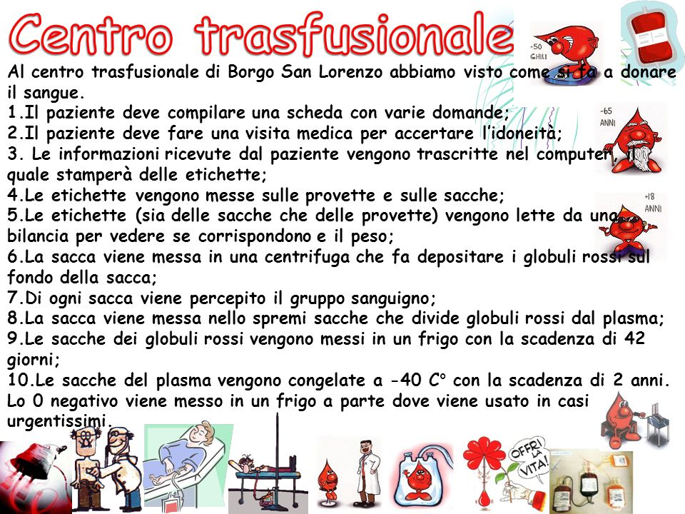 Centro trasfusionale Al centro trasfusionale di Borgo San Lorenzo abbiamo visto come si fa a donare il sangue.