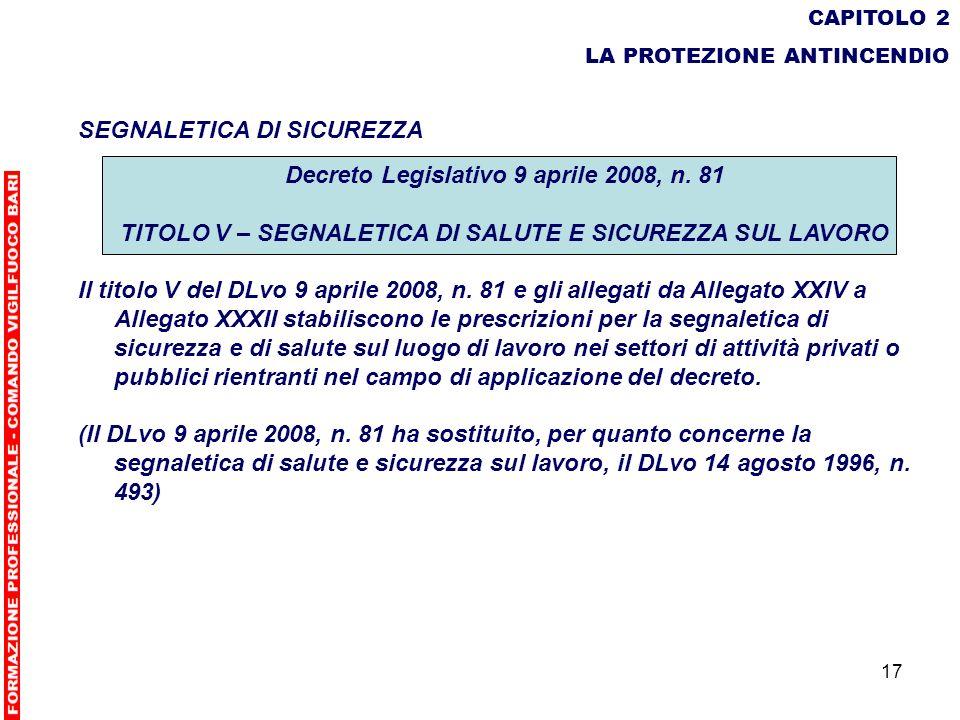 SEGNALETICA DI SICUREZZA Decreto Legislativo 9 aprile 2008, n. 81