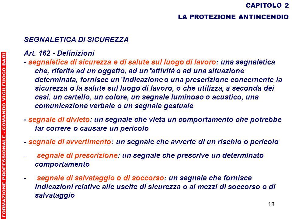 SEGNALETICA DI SICUREZZA Art. 162 - Definizioni