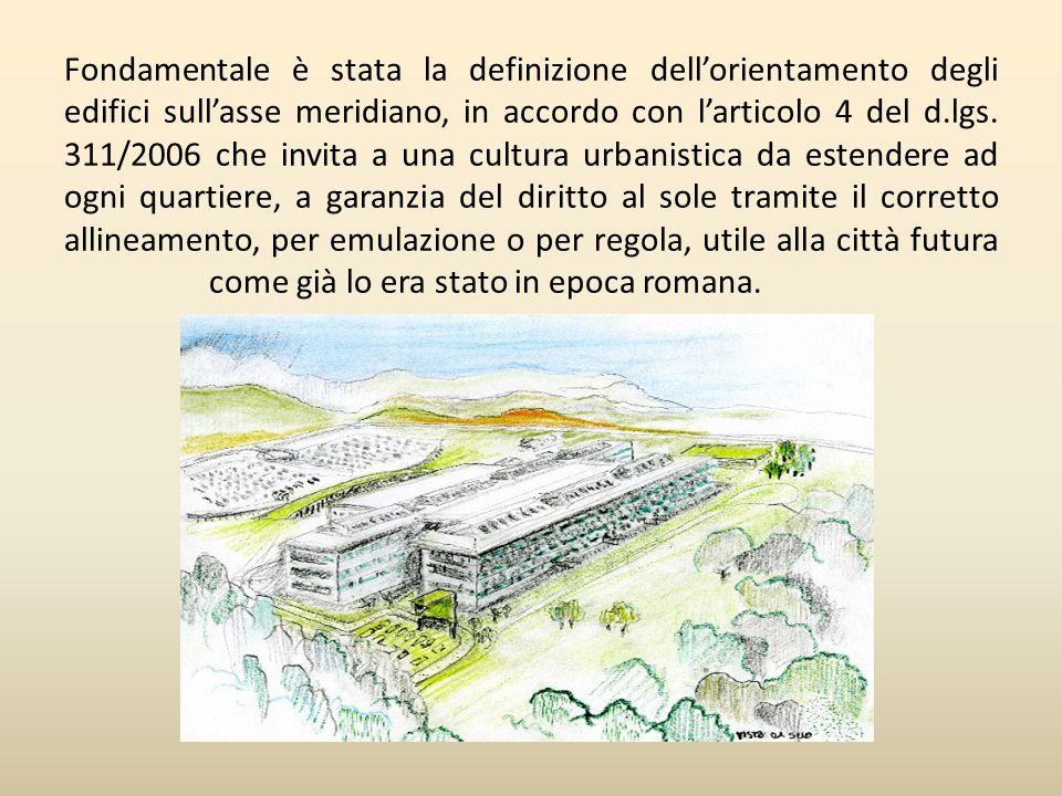 Fondamentale è stata la definizione dell'orientamento degli edifici sull'asse meridiano, in accordo con l'articolo 4 del d.lgs.