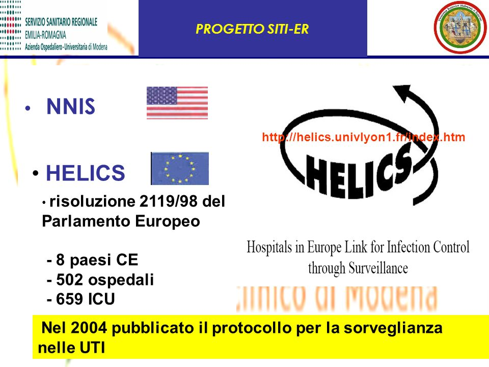 HELICS NNIS - 8 paesi CE - 502 ospedali - 659 ICU PROGETTO SITI-ER