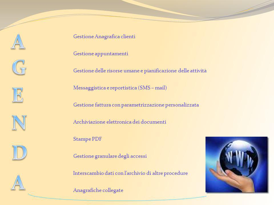 A G E N D A Gestione Anagrafica clienti Gestione appuntamenti