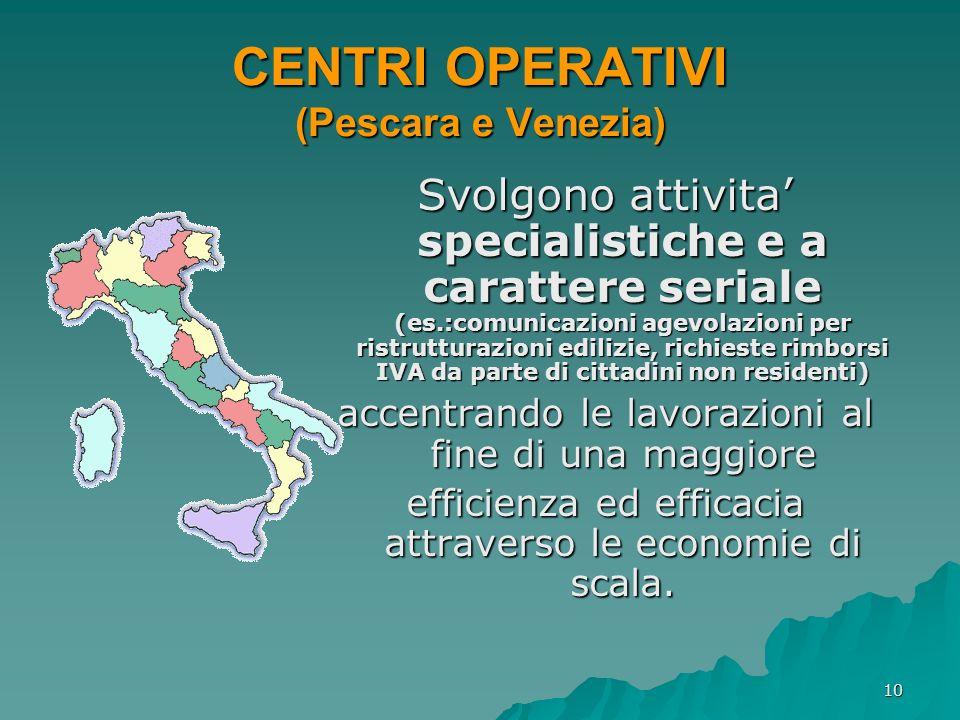 CENTRI OPERATIVI (Pescara e Venezia)