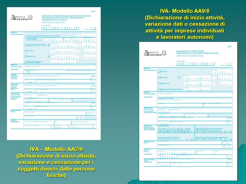 IVA- Modello AA9/8 (Dichiarazione di inizio attività, variazione dati o cessazione di attività per imprese individuali e lavoratori autonomi)