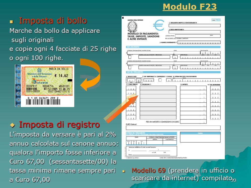Modulo F23 Imposta di bollo Imposta di registro