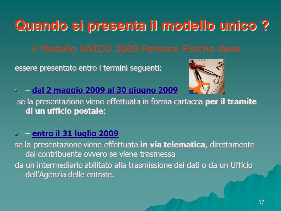 il Modello UNICO 2009 Persone Fisiche deve