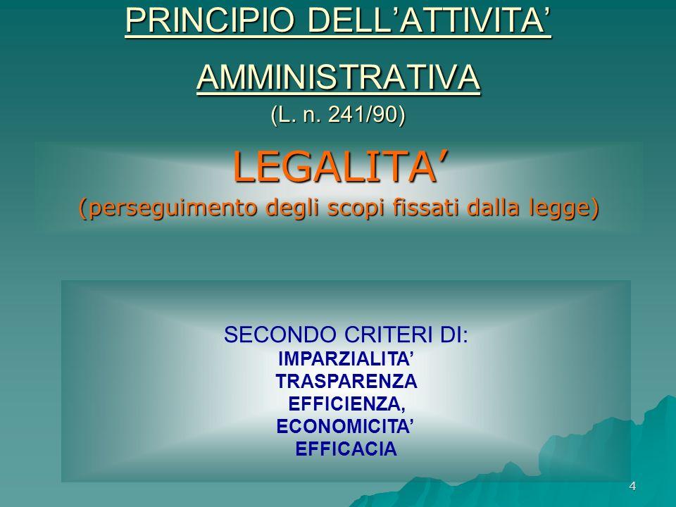 PRINCIPIO DELL'ATTIVITA' AMMINISTRATIVA (L. n. 241/90)