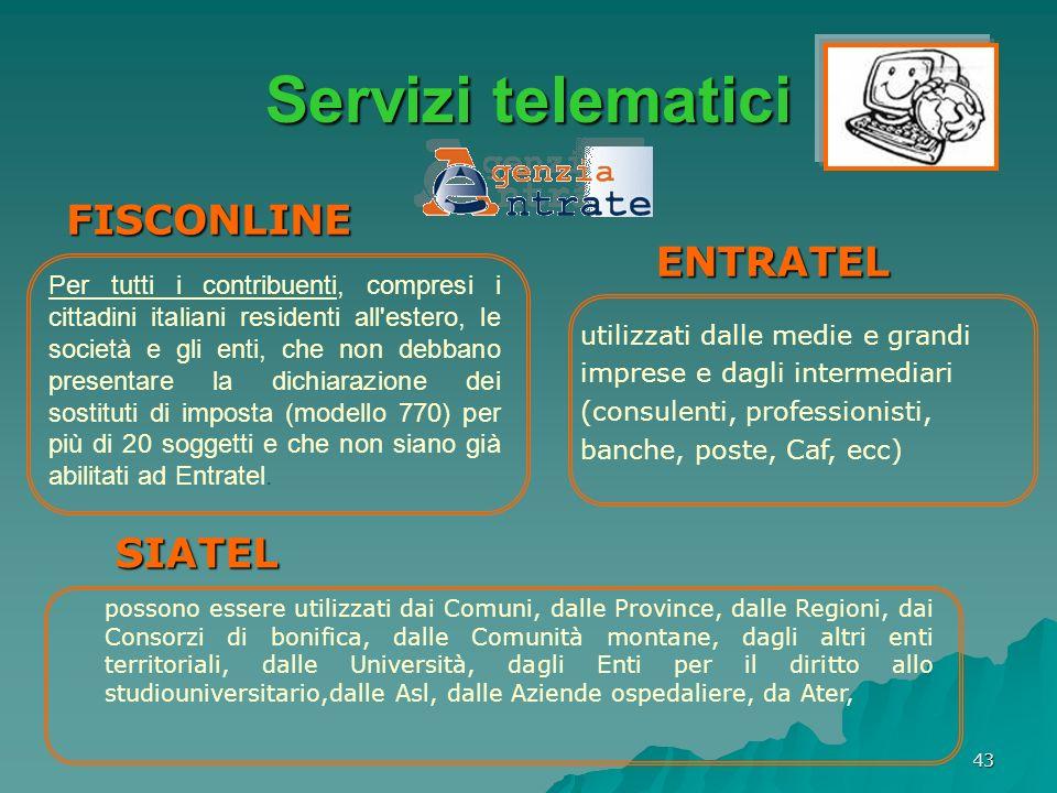 Servizi telematici FISCONLINE ENTRATEL SIATEL