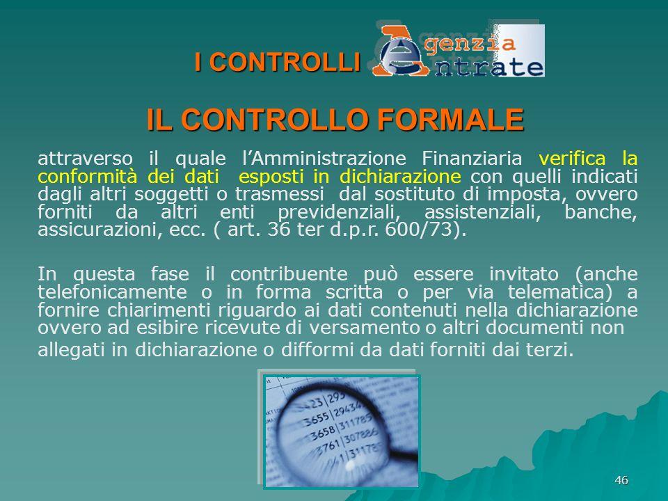IL CONTROLLO FORMALE I CONTROLLI