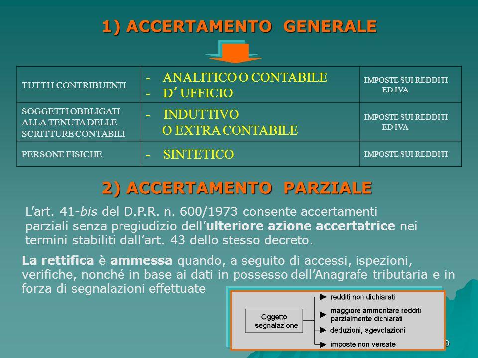 1) ACCERTAMENTO GENERALE 2) ACCERTAMENTO PARZIALE
