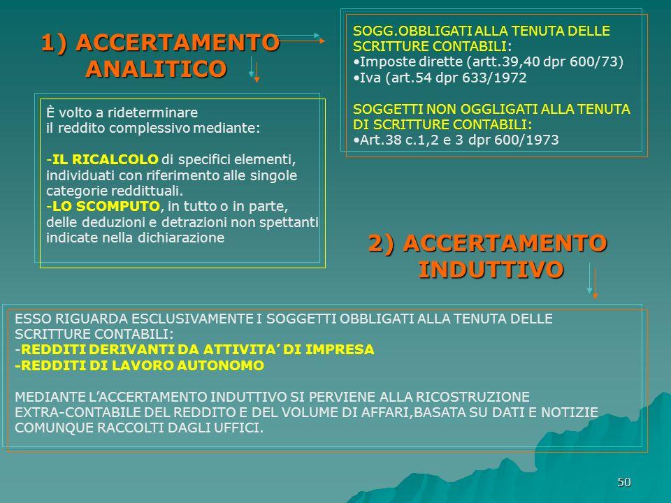 1) ACCERTAMENTO ANALITICO