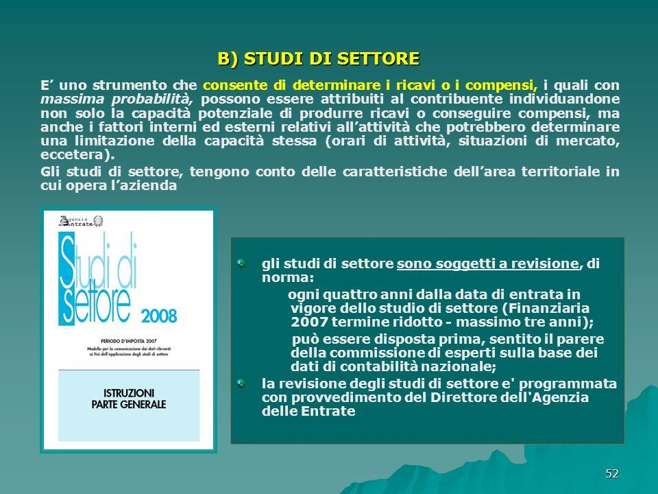 B) STUDI DI SETTORE