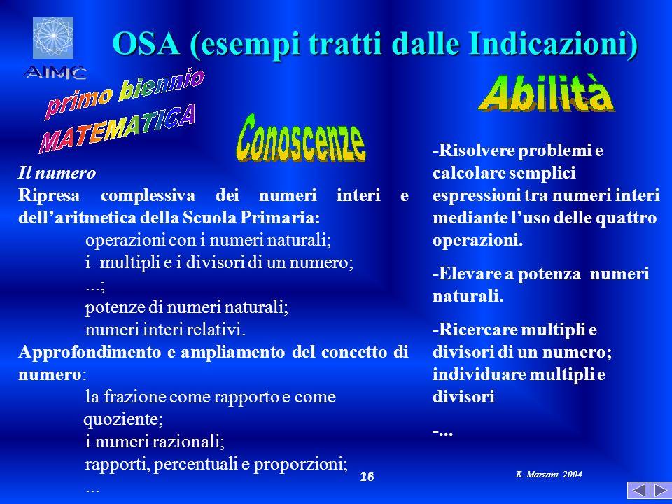OSA (esempi tratti dalle Indicazioni)