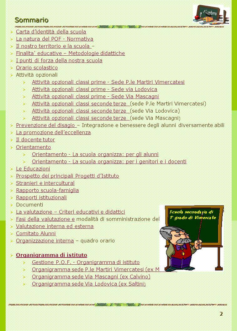 Sommario POF a. s. 2005/06 Carta d'identità della scuola
