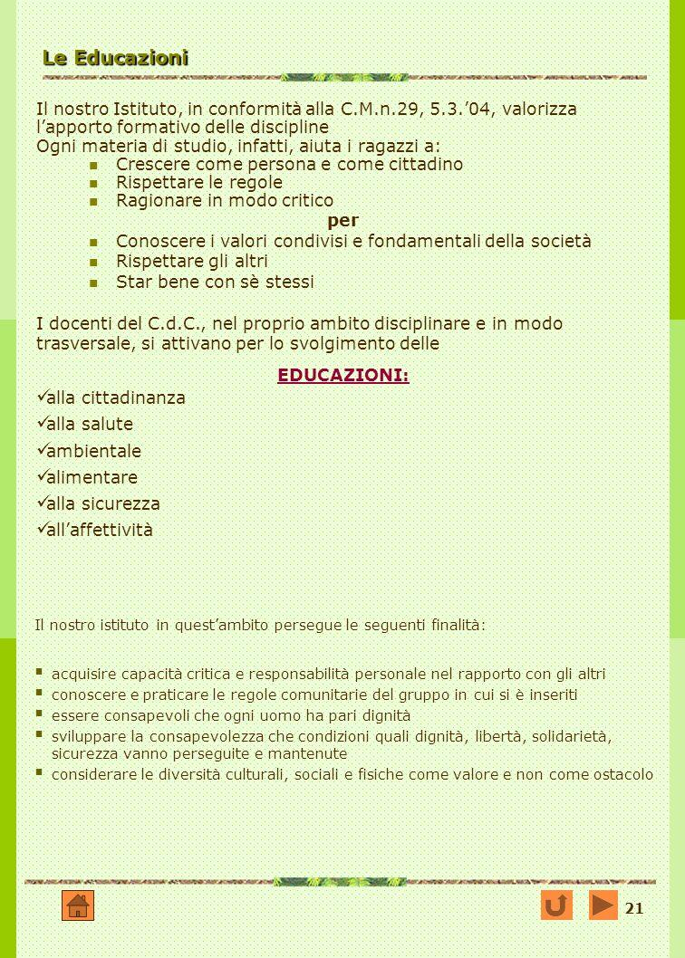 Le Educazioni Il nostro Istituto, in conformità alla C.M.n.29, 5.3.'04, valorizza l'apporto formativo delle discipline.