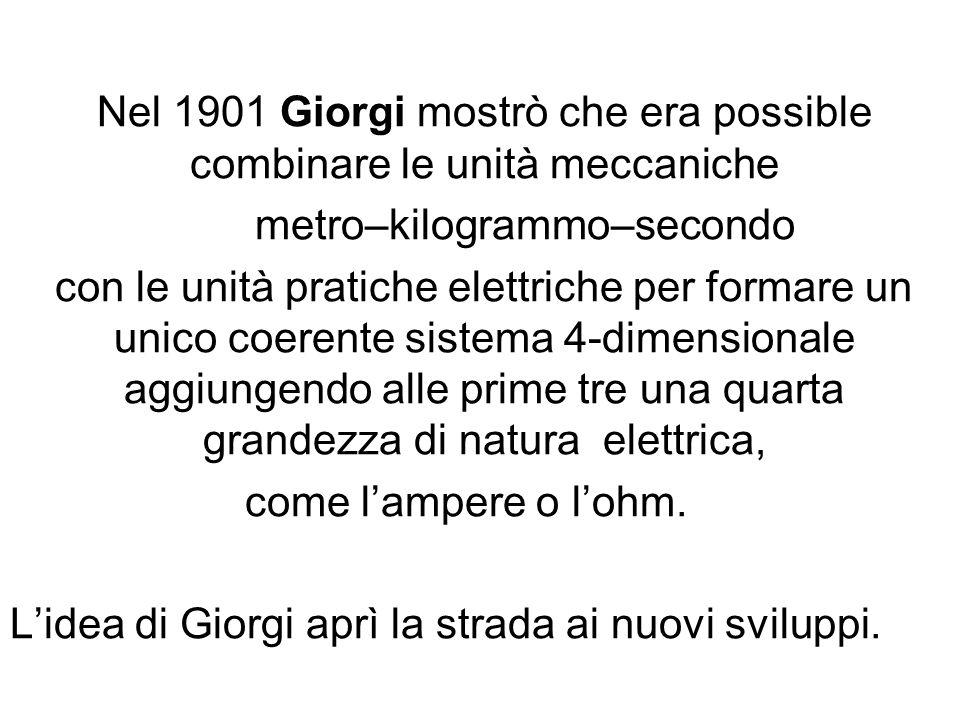 Nel 1901 Giorgi mostrò che era possible combinare le unità meccaniche