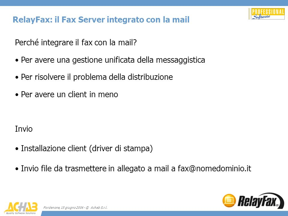 RelayFax: il Fax Server integrato con la mail