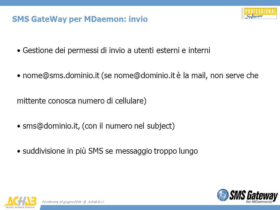 SMS GateWay per MDaemon: invio