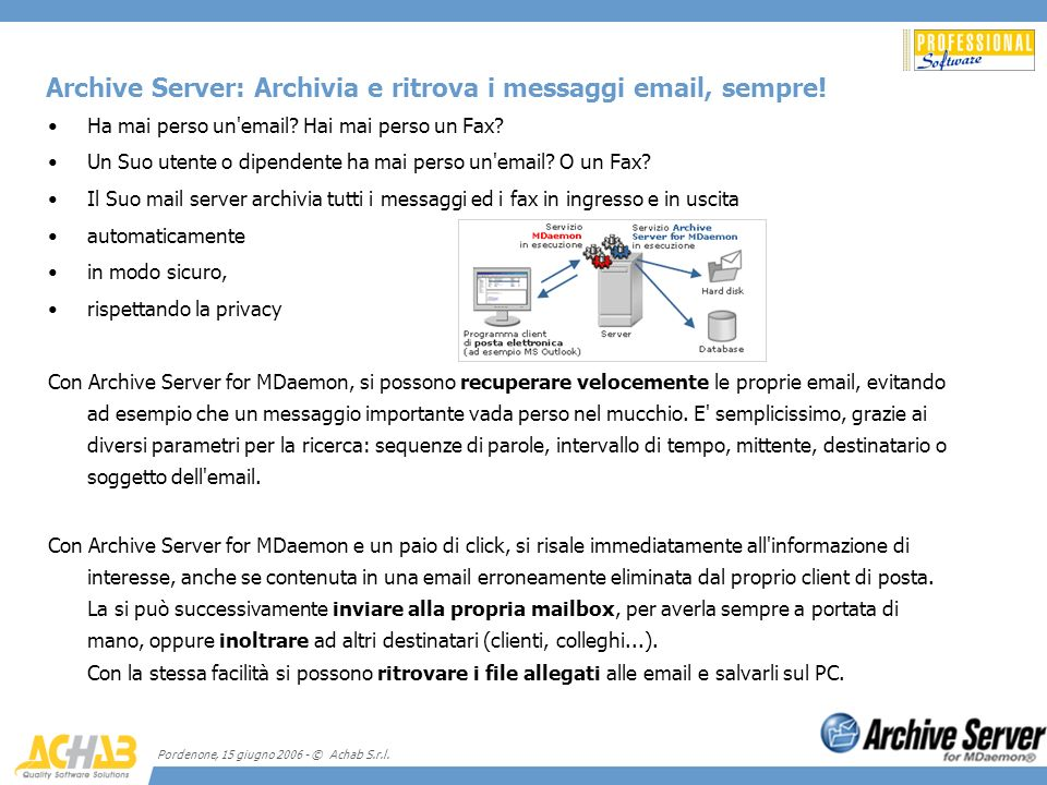 Archive Server: Archivia e ritrova i messaggi email, sempre!