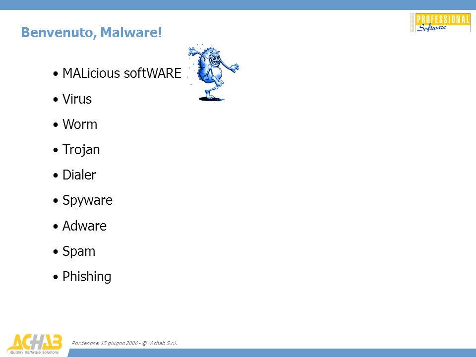 Benvenuto, Malware! MALicious softWARE Virus Worm Trojan Dialer
