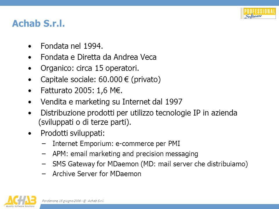 Achab S.r.l. Fondata nel 1994. Fondata e Diretta da Andrea Veca