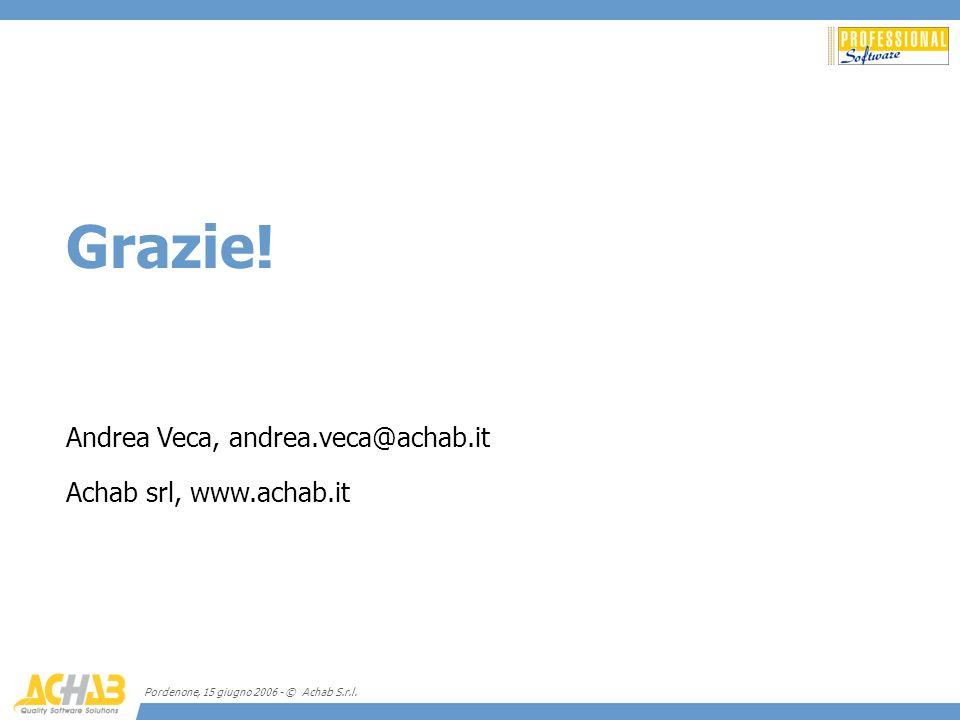 Grazie! Andrea Veca, andrea.veca@achab.it Achab srl, www.achab.it