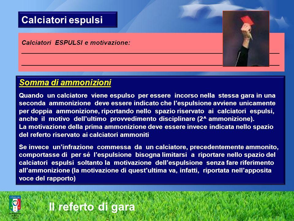 Il referto di gara Calciatori espulsi Somma di ammonizioni