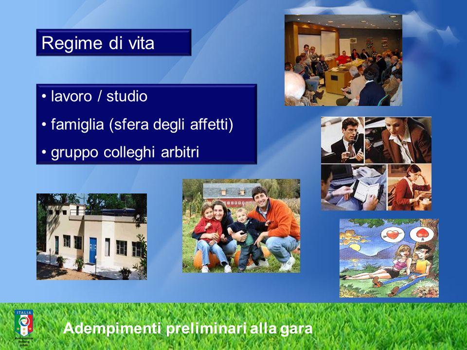 Regime di vita lavoro / studio famiglia (sfera degli affetti)
