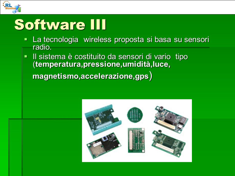 Software III La tecnologia wireless proposta si basa su sensori radio.