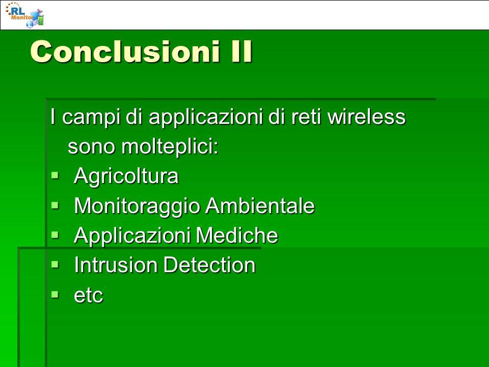 Conclusioni II I campi di applicazioni di reti wireless