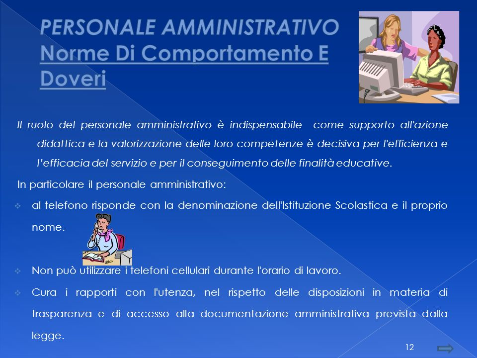 PERSONALE AMMINISTRATIVO Norme Di Comportamento E Doveri