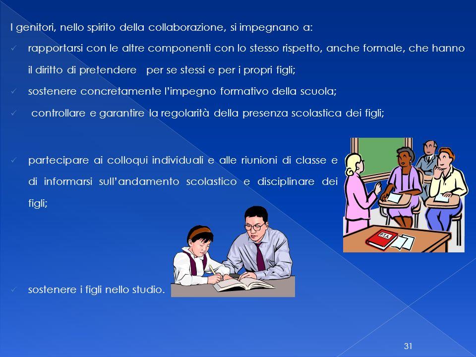 I genitori, nello spirito della collaborazione, si impegnano a: