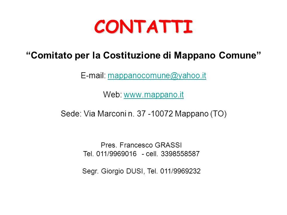 CONTATTI Comitato per la Costituzione di Mappano Comune
