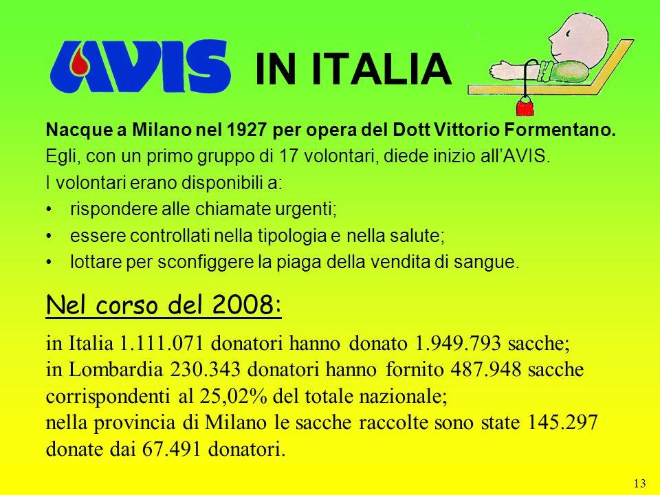 IN ITALIA Nel corso del 2008: