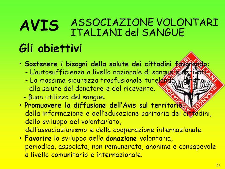 AVIS Gli obiettivi ASSOCIAZIONE VOLONTARI ITALIANI del SANGUE