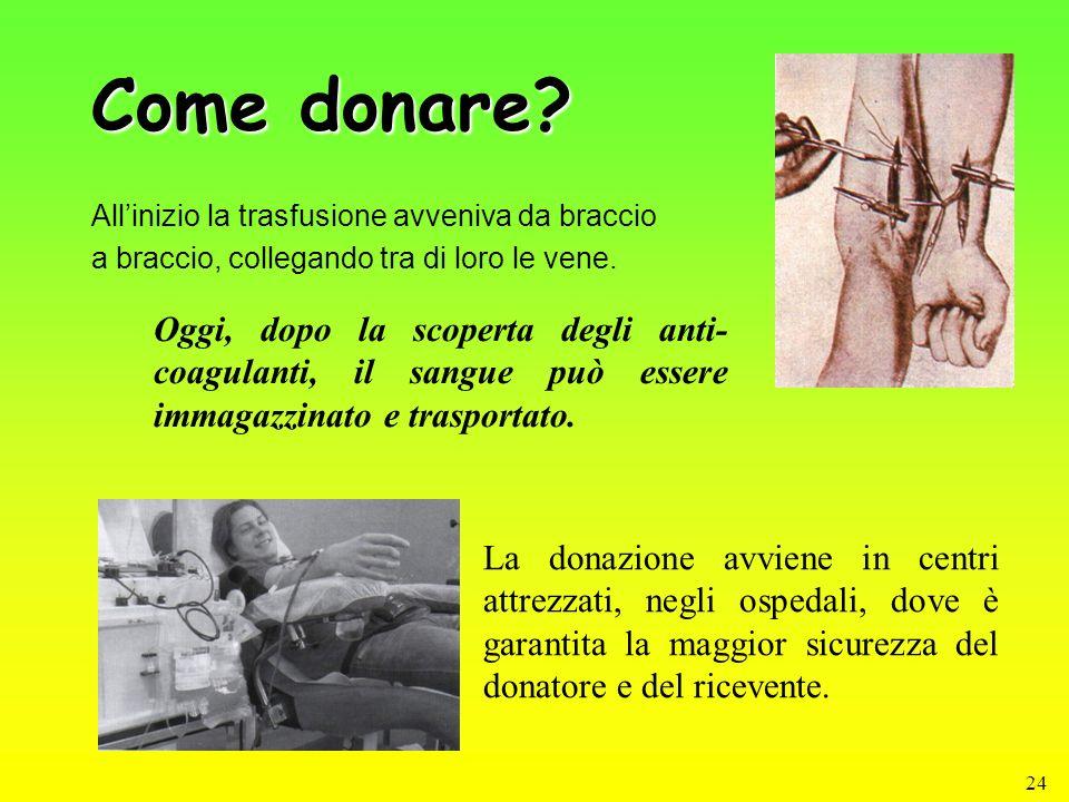 Come donare All'inizio la trasfusione avveniva da braccio. a braccio, collegando tra di loro le vene.