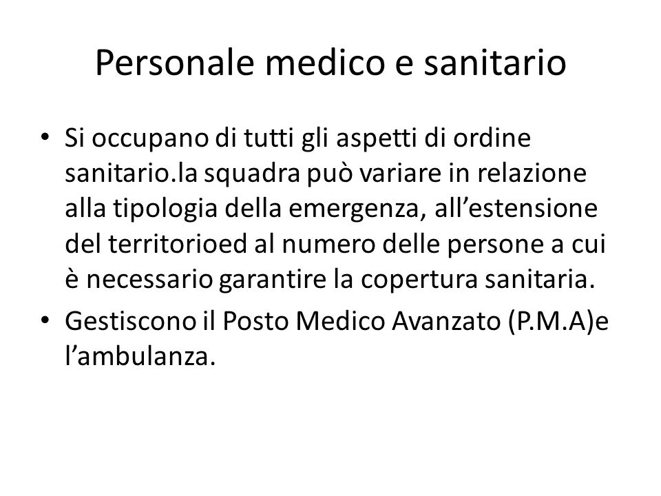 Personale medico e sanitario