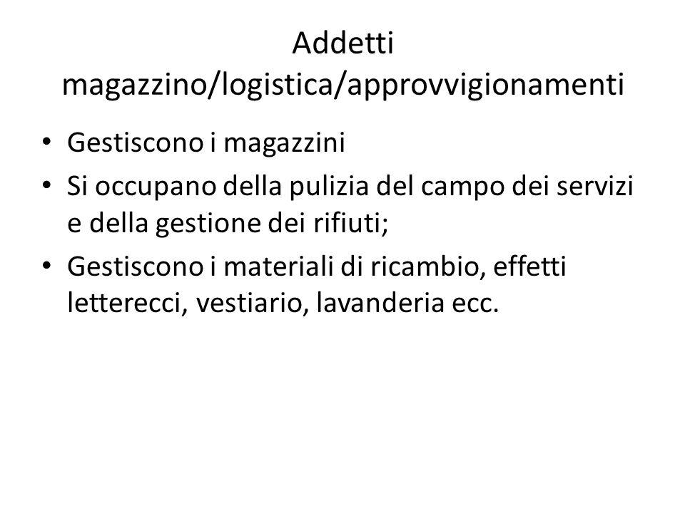 Addetti magazzino/logistica/approvvigionamenti