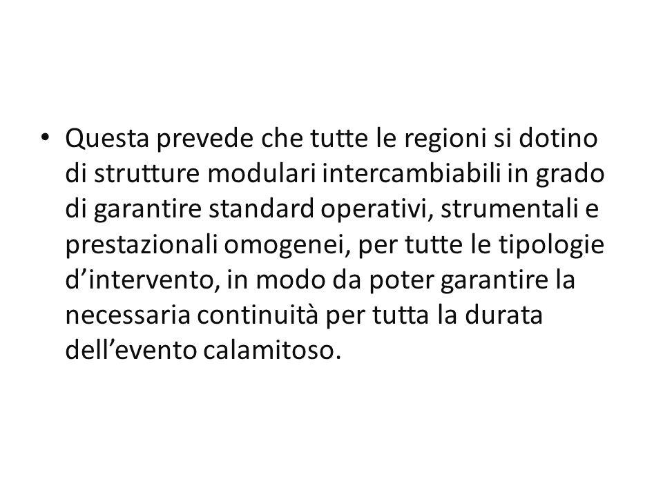 Questa prevede che tutte le regioni si dotino di strutture modulari intercambiabili in grado di garantire standard operativi, strumentali e prestazionali omogenei, per tutte le tipologie d'intervento, in modo da poter garantire la necessaria continuità per tutta la durata dell'evento calamitoso.