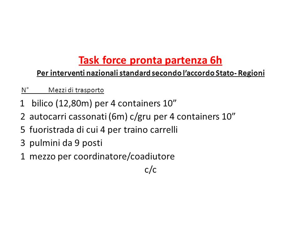 N° Mezzi di trasporto Task force pronta partenza 6h