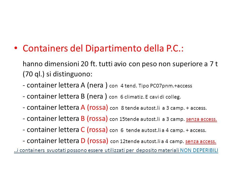 Containers del Dipartimento della P.C.: