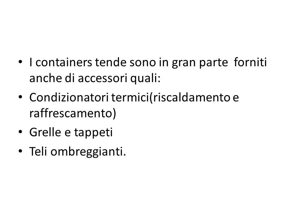 I containers tende sono in gran parte forniti anche di accessori quali: