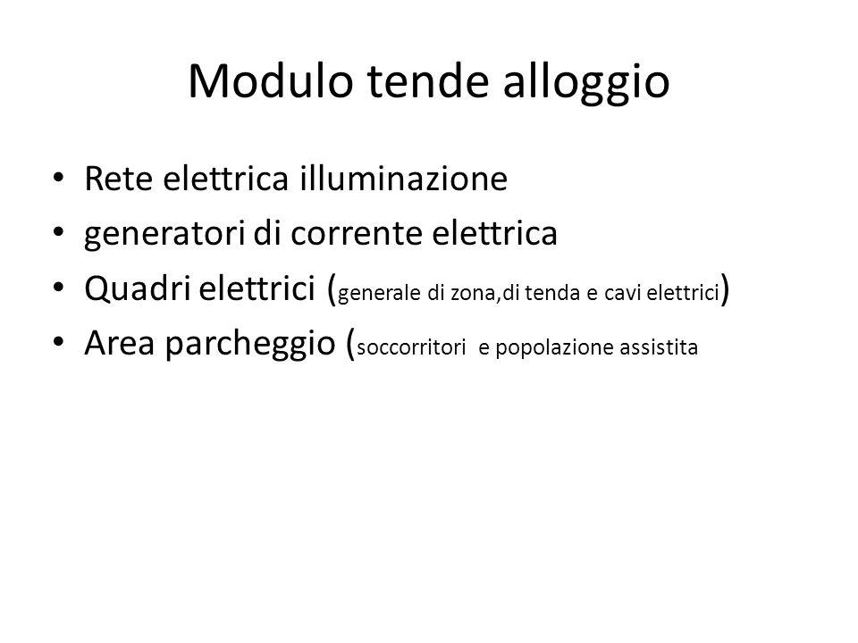 Modulo tende alloggio Rete elettrica illuminazione