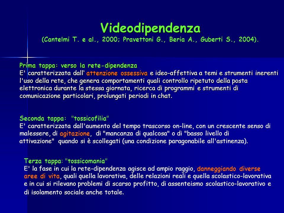 Videodipendenza (Cantelmi T. e al. , 2000; Pravettoni G. , Beria A